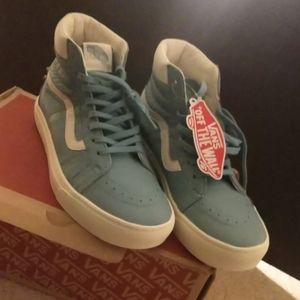 NOS - Aqua Teal Leather Vans Size 8